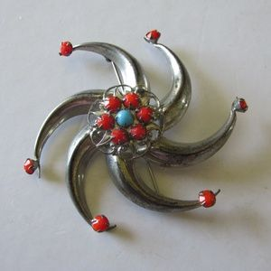 Sterling SPINNING STAR BROOCH Coral & Turquoise